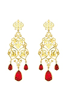 Gold Finish Ivy Earrings With Swarovski Crystals by Eina Ahluwalia X Confluence