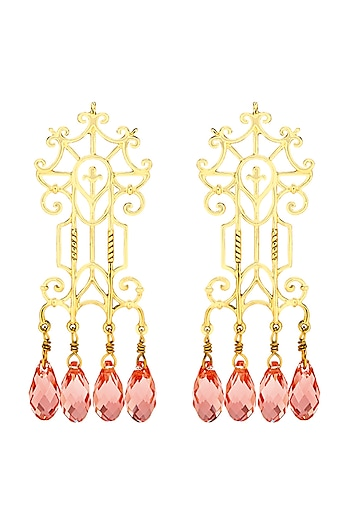 Gold Finish Trellis Earrings With Swarovski Crystals by Eina Ahluwalia X Confluence