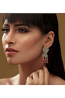 Gold Finish Trellis Earrings With Swarovski Crystals by Eina Ahluwalia X Confluence