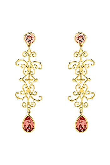 Gold Finish Baluster Earrings With Swarovski Crystals by Eina Ahluwalia X Confluence