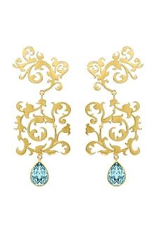 Gold Finish Scrollwork Earrings With Swarovski Crystals by Eina Ahluwalia X Confluence