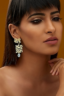 Gold Finish Scrollwork Earrings With Swarovski Crystals by Eina Ahluwalia X Confluence