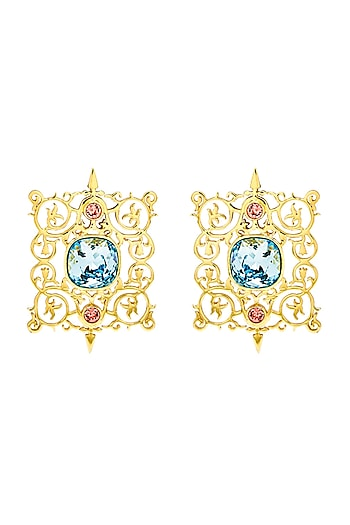 Gold Finish Cartouche Earrings With Swarovski Crystals by Eina Ahluwalia X Confluence