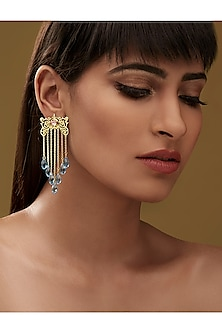 Gold Finish Awning Earrings With Swarovski Crystals by Eina Ahluwalia X Confluence