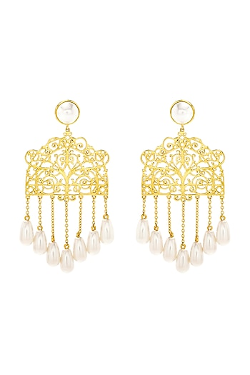 Gold Finish Gazebo Earrings With Swarovski Crystals by Eina Ahluwalia X Confluence