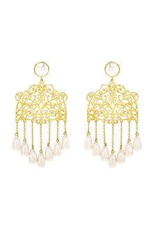 Gold Finish Gazebo Earrings With Swarovski Crystals by Eina Ahluwalia X Confluence
