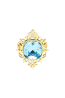 Gold Finish Frame Ring With Swarovski Crystals by Eina Ahluwalia X Confluence