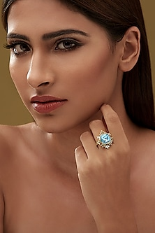 Gold Finish Frame Ring With Swarovski Crystals by Eina Ahluwalia X Confluence