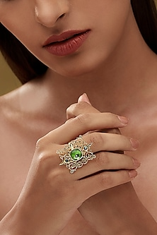 Gold Finish Cartouche Ring With Swarovski Crystals by Eina Ahluwalia X Confluence