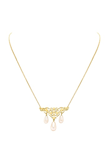 Gold Finish Vine Necklace With Swarovski Crystals by Eina Ahluwalia X Confluence