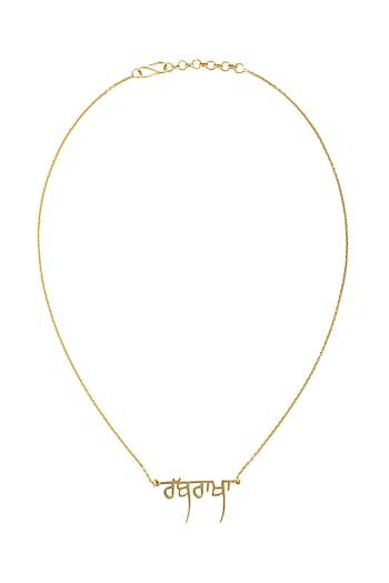 Gold Finish Gurmukhi Necklace by Eina Ahluwalia