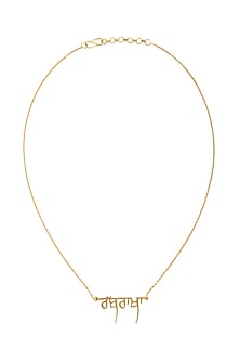 Gold Finish Gurmukhi Necklace by Eina Ahluwalia