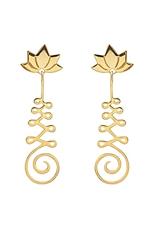 Gold Finish Lotus Earrings by Eina Ahluwalia