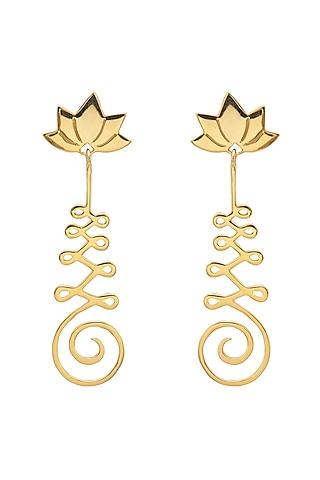 Gold Finish Lotus Earrings by Eina Ahluwalia