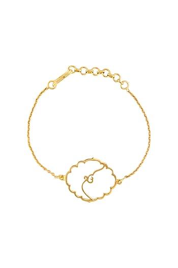 Gold Finish Ek Onkar Bracelet by Eina Ahluwalia