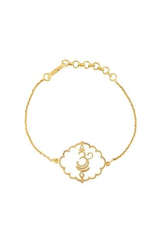 Gold Finish Handcrafted Om Bracelet by Eina Ahluwalia