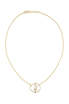 Gold Finish Om Necklace by Eina Ahluwalia