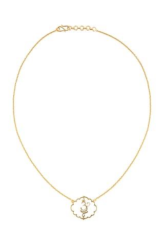 Gold Finish Om Necklace by Eina Ahluwalia