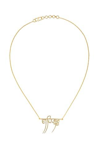 Gold Finish Waheguru Necklace by Eina Ahluwalia