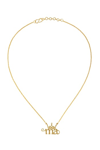 Gold Finish Ma Necklace by Eina Ahluwalia