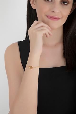 Gold Finish Handcrafted Love Bracelet by Eina Ahluwalia