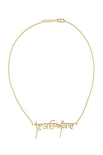 Gold Finish Ek Onkar Necklace by Eina Ahluwalia