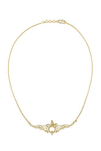 Gold Finish Farohar Necklace by Eina Ahluwalia