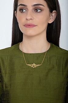 Gold Finish Farohar Necklace by Eina Ahluwalia