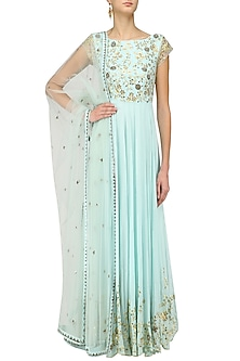 Powder Blue Gota and Mirror Hand Embroidered Anarkali Set by Architha Narayanam