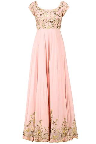 Peach Pink Parrot Motifs Anarkali Set by Architha Narayanam