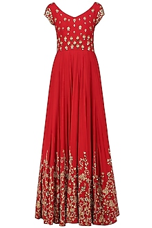 Red Creeper and Bootis Embroidered Anarkali Gown by Architha Narayanam
