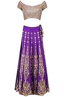 Purple Gota and Zardozi Embroidered Lehenga Set by Architha Narayanam
