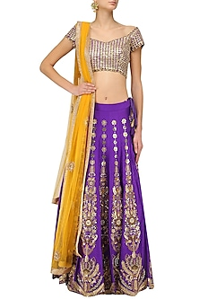 Purple Gota and Zardozi Embroidered Lehenga Set by Architha Narayanam