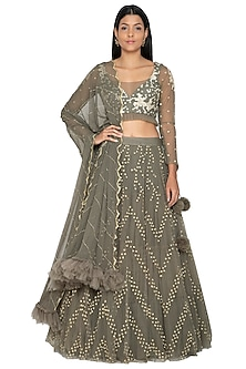 Military Green Embroidered Lehenga Set by Architha Narayanam-Shop By Style
