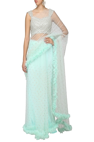 Powder Blue Frill Saree with Blouse by Architha Narayanam