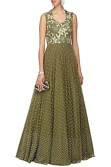 Military Green Embellished Gown by Architha Narayanam