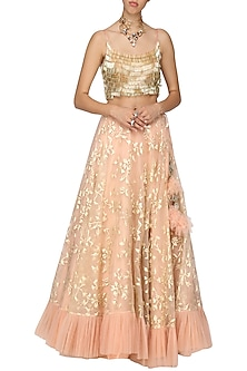 Baby Pink Applique Frill Lehenga with Blouse by Architha Narayanam
