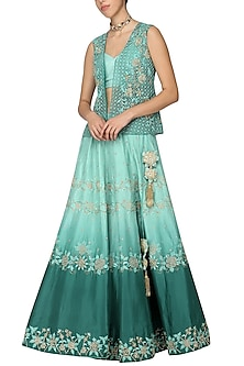 Green Shaded Embellished Lehenga with Bustier and Jacket by Architha Narayanam