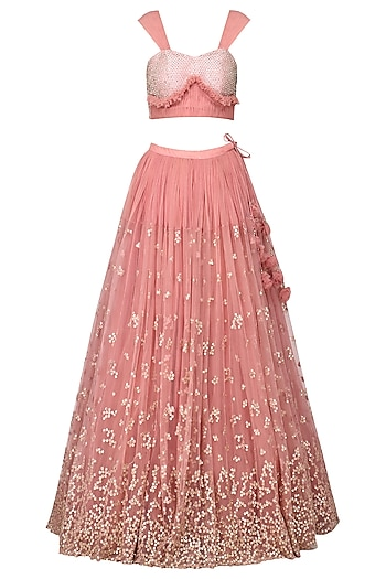 Pink Embellished Lehenga Set by Architha Narayanam