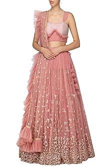 Pink Embellished Lehenga Set by Architha Narayanam-SHOP BY STYLE