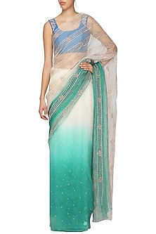 Green To White Ombre Embellished Saree with Blouse by Architha Narayanam