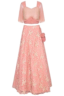 Peach embroidered lehenga set by Architha Narayanam