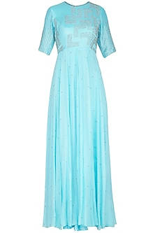 Cyan blue embroidered anarkali gown with dupatta by Architha Narayanam