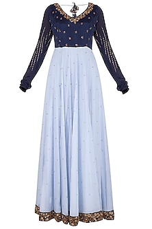 Blue embroidered gown by Architha Narayanam