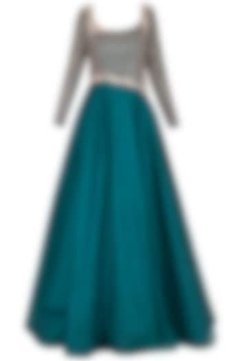 Dark teal green embroidered gown by Architha Narayanam