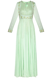 Mint green embroidered anarkali gown by Architha Narayanam