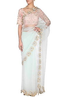 Powder blue embroidered saree set by Architha Narayanam