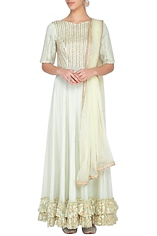 Light mint green embroidered anarkali gown with dupatta by Architha Narayanam