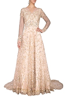 Beige sequins embroidered gown by Architha Narayanam