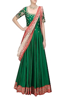 Green Floral Embroidered Anarkali with Gold Dupatta by Architha Narayanam